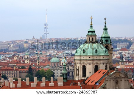 View to St. Nicholas Church - Skyline of the old town of prague, czech republic - stock photo