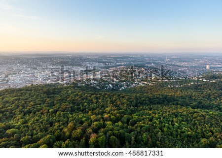 View to Stuttgart city in Germany - beautiful landscape in the summer
