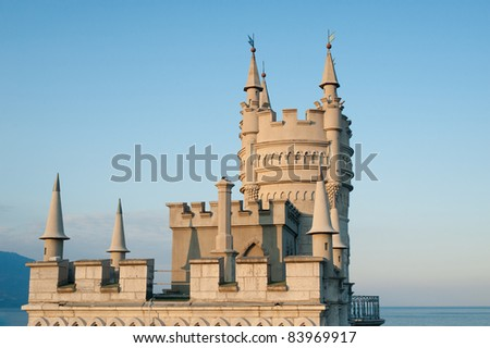 view to Swallow's Nest Castle in crimea - stock photo