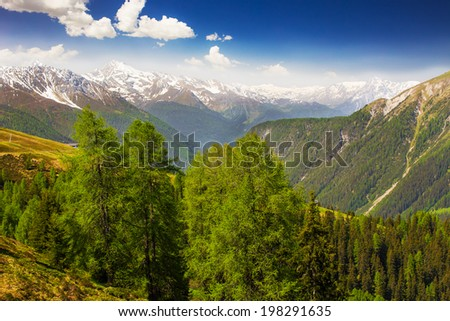View to Swiss Alps from the top of  Rinerhorn mountain, Davos, Switzerland