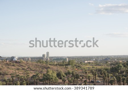 view to Tempe, Arizona, USA from Papago Park, USA - stock photo