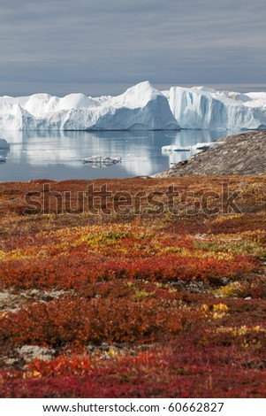 View to the beautiful Kangia glacier near Ilulissat in Greenland - stock photo