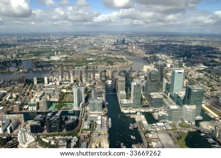 View to the Canary wharf/Canada water districts from the helicopter - stock photo