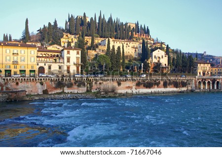 View to The Castel San Pietro and Adige river in Verona, Italy - stock photo