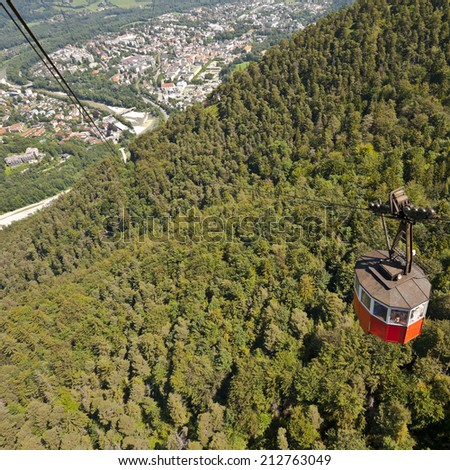View to the City from the Cable Car in the Bavarian Alps, Instagram Effect - stock photo