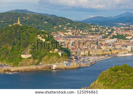 View to the city San Sebastian, Basque country, Spaine - stock photo