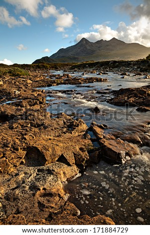 View to the Cuilins at the Isle of Skye - stock photo