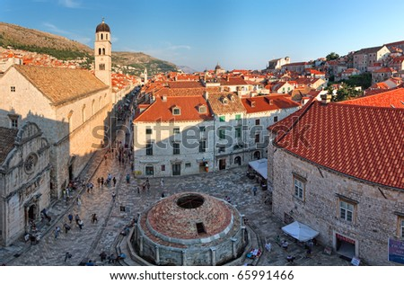 View to the Dubrovnik square from city walls  roofs - stock photo