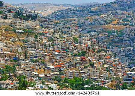 View to the East Jerusalem from the Walls of the Old City - stock photo