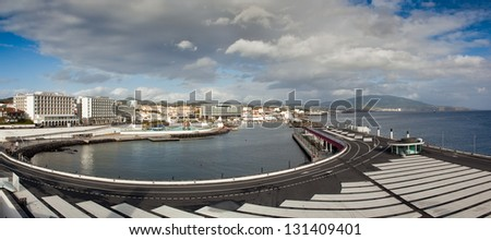 View to the eastern part of Ponta Delgada city from marina, San miguel, Azores, Portugal