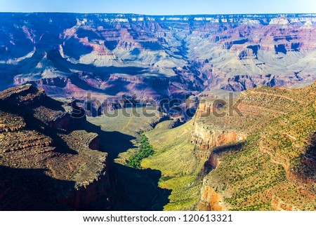 view to the Grand Canyon from Grand Canyon Village - stock photo