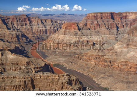 view to the great Colorado River and Grand Canyon, Nevada, United States - stock photo