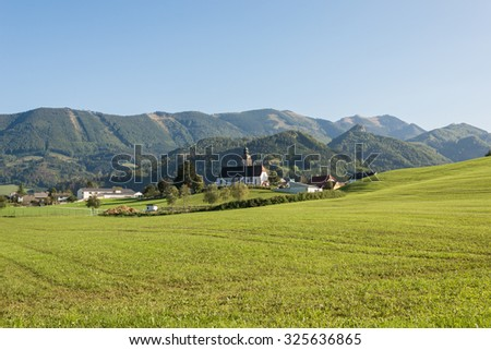 View to the Grossraming, a small town in the Enns valley in Upper Austria. Situated in the Hintergebirge or Limestone Alps with the largest closed and virtually uninhabited forest area in Austria - stock photo