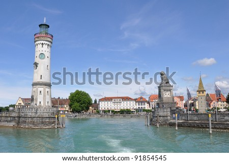 View to the historic port of Lindau at Lake Constance from a leaving ferry
