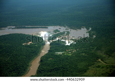 View to the Iguazu falls from a plane - stock photo