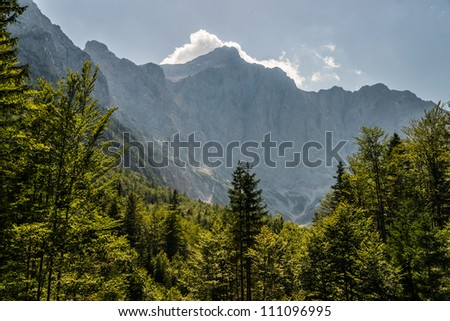 View to the Julian Alps including Mt. Triglav, the highest mountain and national symbol of Slovenia, from the Kranjska Gora region. The mountains of the Julian Alps form an impressive wall here. - stock photo