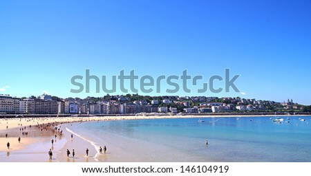 View to the main beach in San Sebastian on a sunny summer day - stock photo