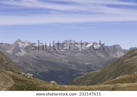 view to the north from beautiful Timmelsjoch at a sunny summer day - stock photo