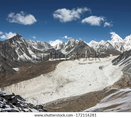 View to the Nuptse Glacier from the top of the Chhukhung Ri - Everest region, Nepal, Himalayas