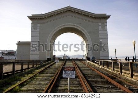 View to the old port gate at pier 39 in San Francisco - stock photo