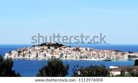 View to the peninsula of Primosten, Dalmation coast, Croatia, Adriatic sea
