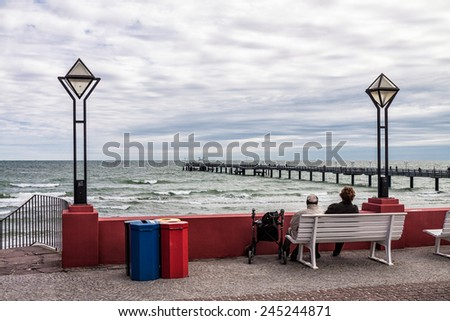 View to the pier in Binz on the island Ruegen (Germany).