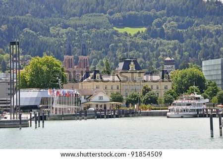 View to the Port of Bregenz in Austria from a ferry at lake Constance - stock photo