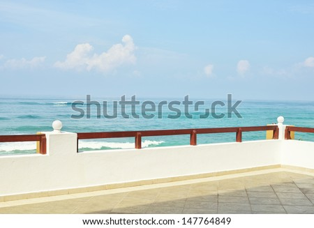 View to the sea from a balcony - stock photo
