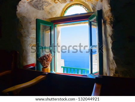 View to the sea from an open window of Hozoviotissa monastery in Amorgos island in Greece - stock photo