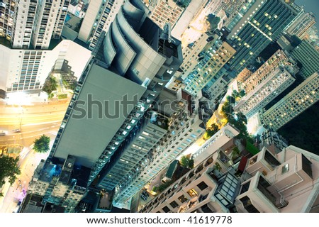 View to the skyscrapers - stock photo