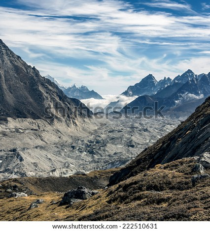 View to the South alon the Gokyo glacier from the region of the Cho Oyu base camp - Nepal, Himalayas - stock photo