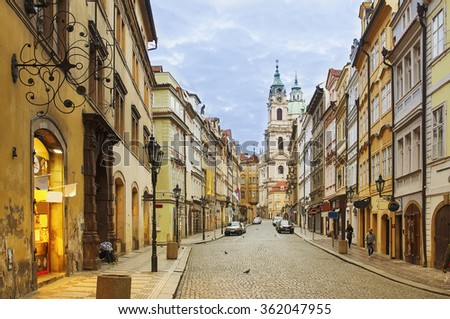View to the street in the old center of Prague - the capital and largest city of the Czech Republic - travel background - stock photo
