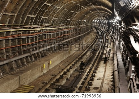 View to the subway tunnel. - stock photo