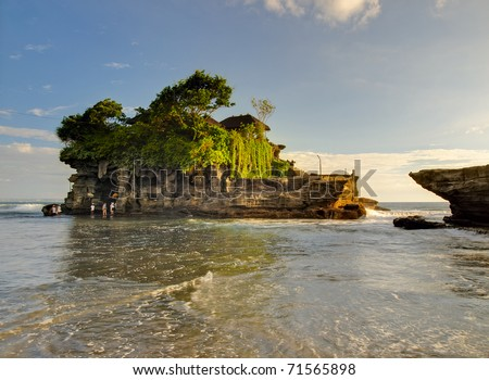 View to the Tanah Lot temple in sunset. Bali island, indonesia - stock photo