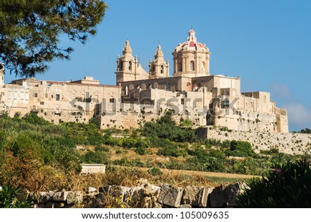 View to the walls and buildings of Malta's historical old capital Mdina. - stock photo