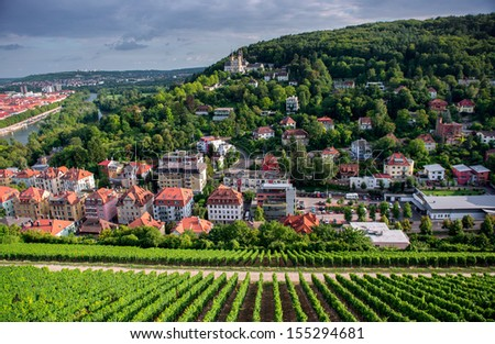 View to the Wurzburg town from Marienberg castle. - stock photo