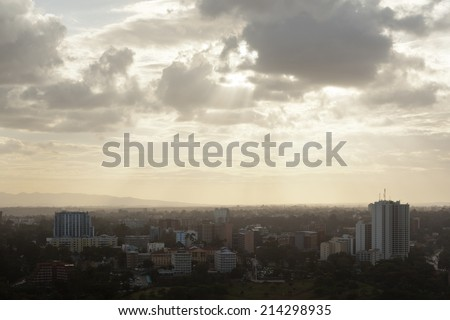 View to Uhuru Park in the business district of Nairobi, Kenya in the evening - stock photo