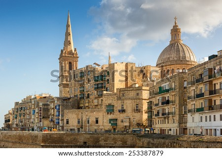 View to Valetta city buildings under sunlight, Malta