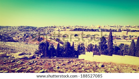 View to Walls of the Old City of Jerusalem, Instagram Effect - stock photo