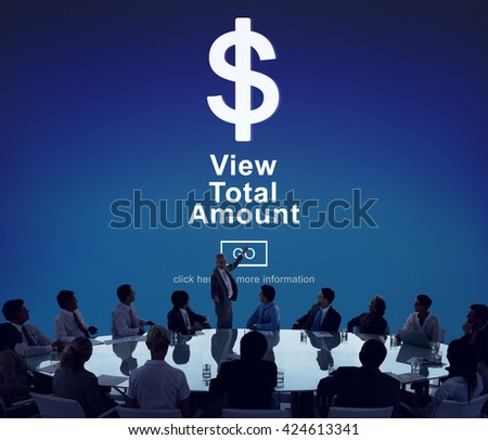View Total Amount Accountant Balance Record Concept - stock photo