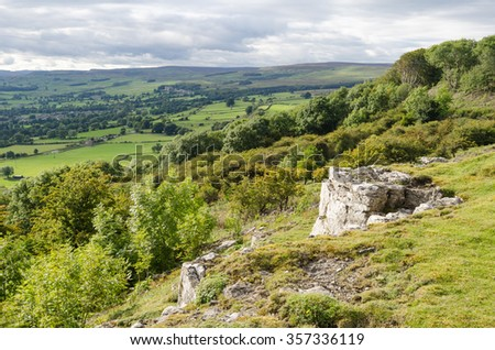 View towards Castle Bolton in Wensleydale in the Yorkshire Dales