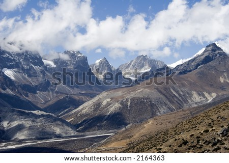 View towards Cho La Pass taken from above Dingboche.