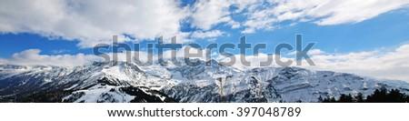 View towards Mont Blanc and Aiguille Bionnassay, Chamonix, Haute Alpes, France - stock photo