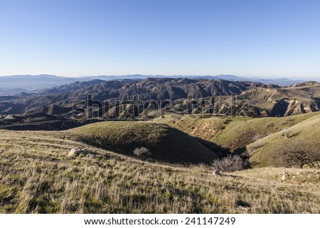 View towards Rocky Peak and Santa Susana Pass State Historic Park from Michael Antonivich Regional Park above the San Fernando Valley in Los Angeles, California.   - stock photo