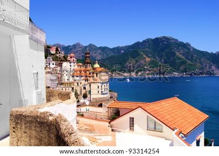 View towards the coastal town of Atrani on the Amalfi coast of Italy - stock photo