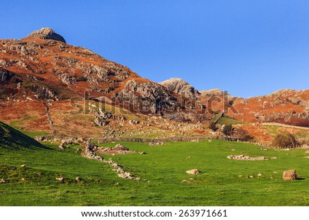 View towards the Langdale Pikes. A lovely view across a boulder strewn field to the imposing hills beyond. - stock photo