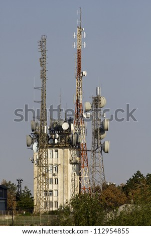 view-tower with transmitter units - stock photo