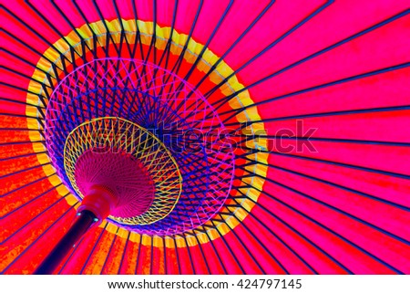 View under a japanese umbrella - stock photo