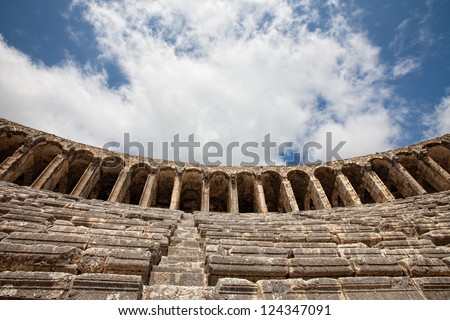View up at theater in Aspendos Turkey - stock photo