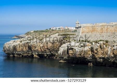 View upon Citadel of Peniche in Portugal and large blue sky, Europe